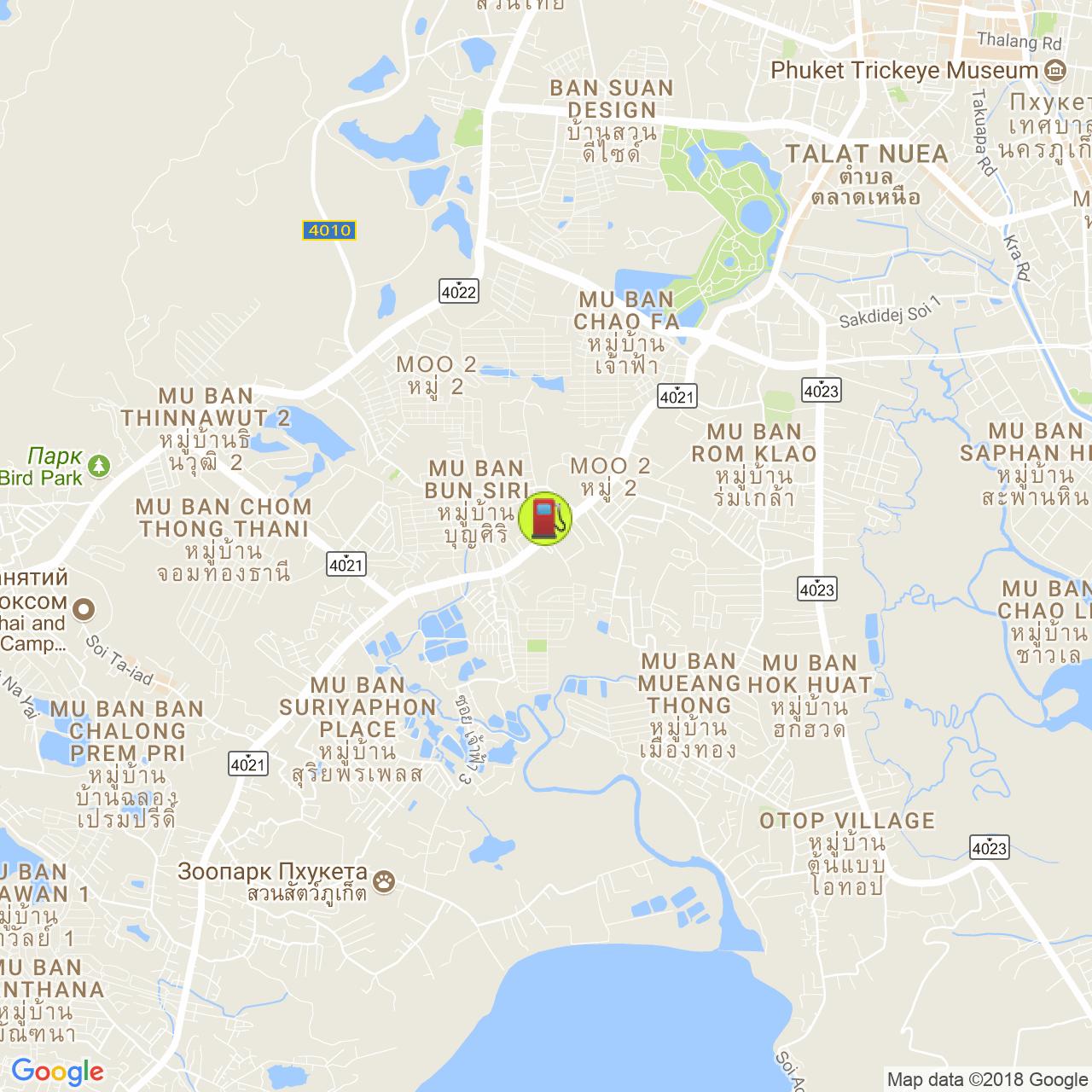 Заправка PTT @ Чалонг / Восточная Чаофа на карте Пхукета