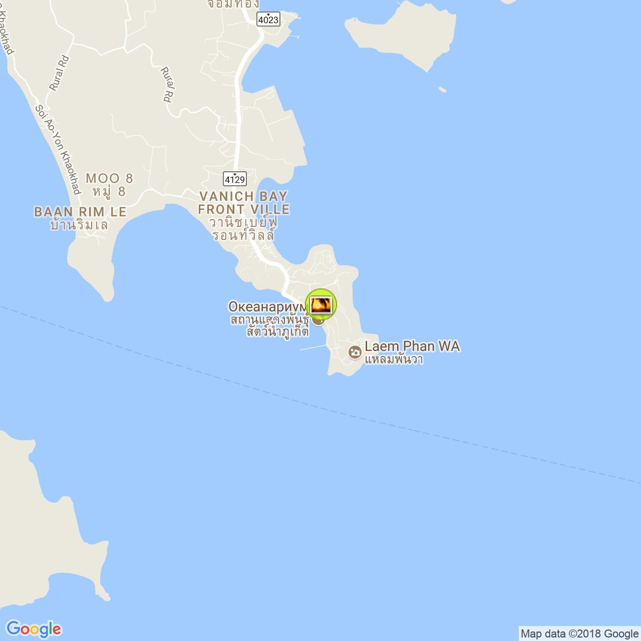 Пхукетский аквариум на карте Пхукета