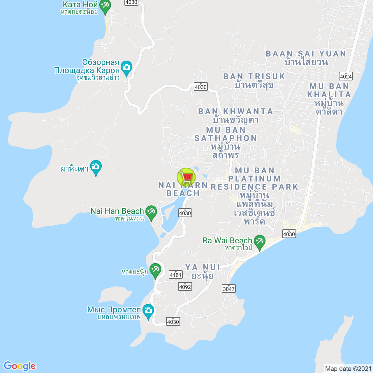 Papaya mini-mart на карте Пхукета