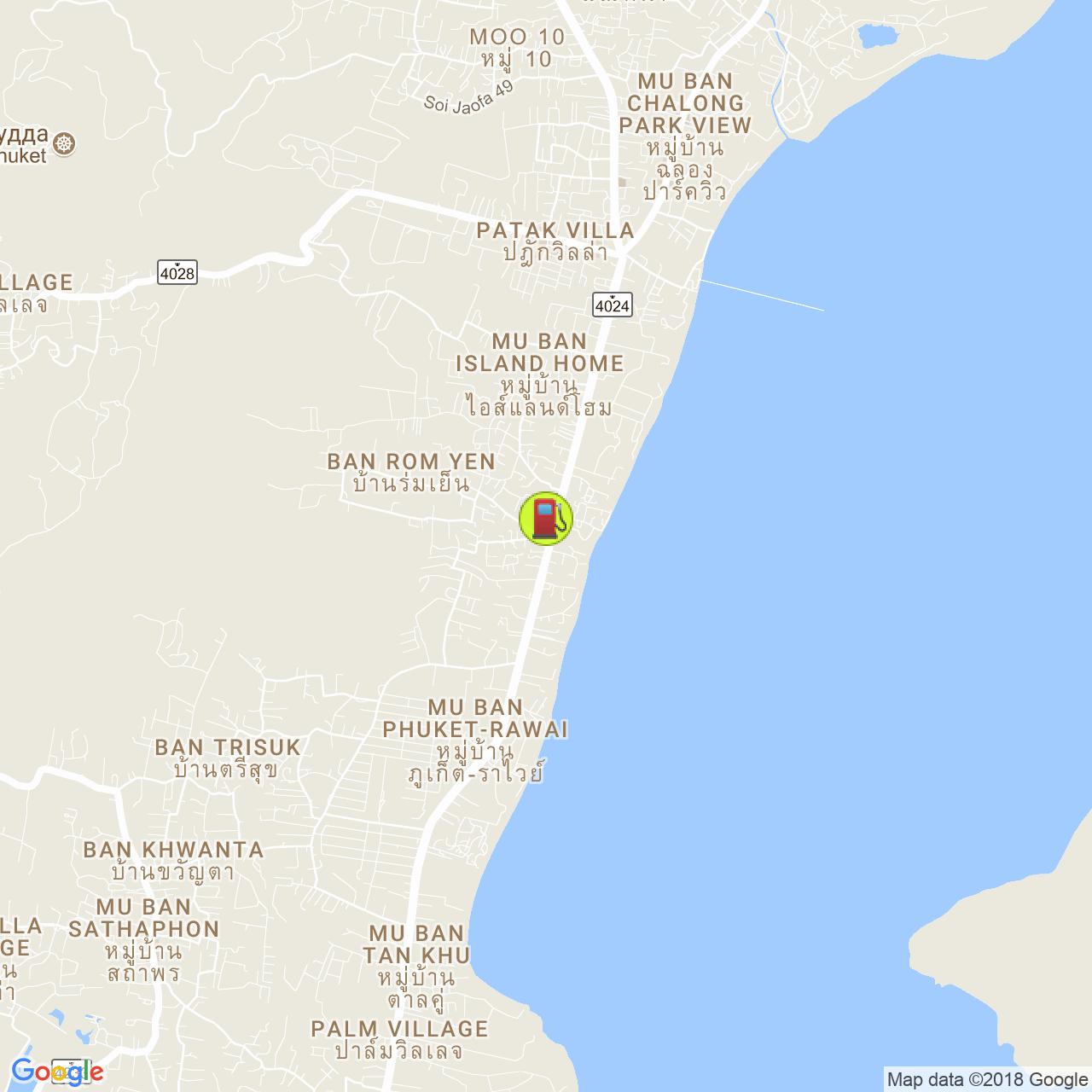 Заправка Листик @ Чалонг на карте Пхукета