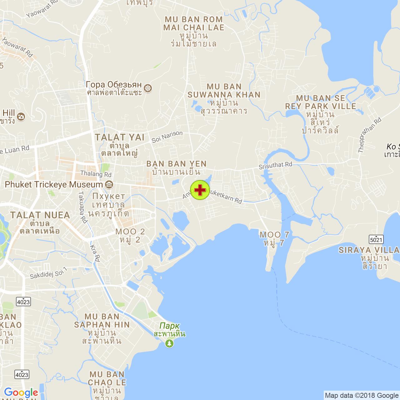 Phuket Provincial Hospital на карте Пхукета