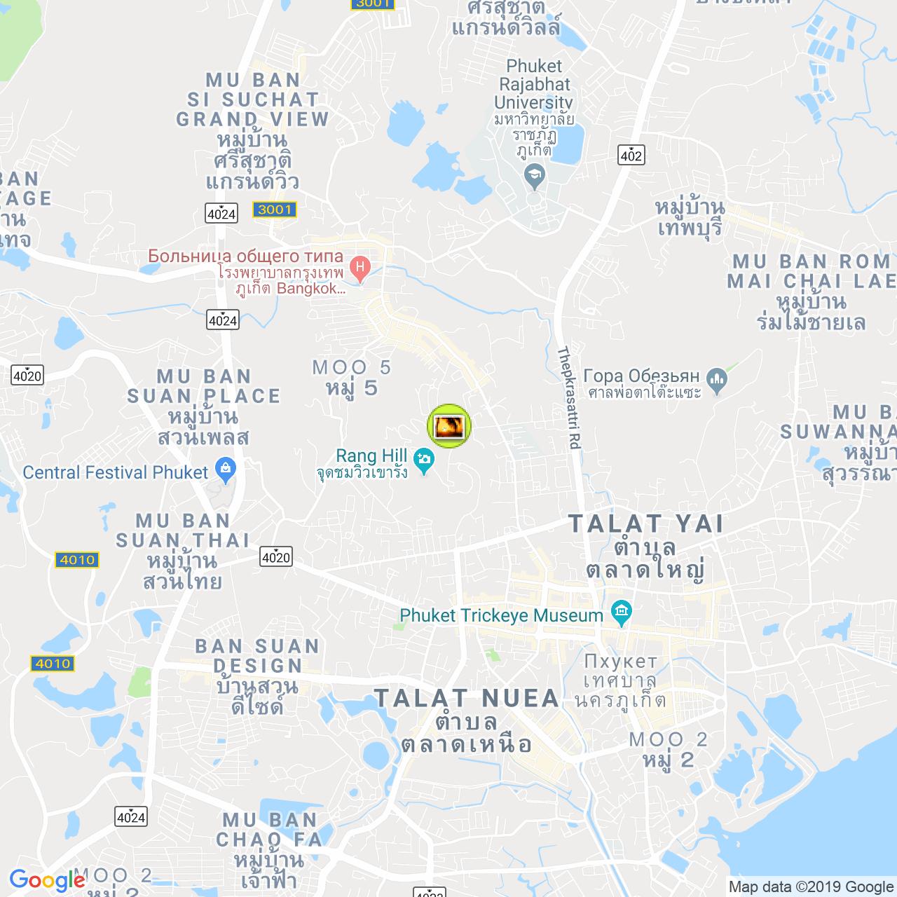 Wat Khao Rang на карте Пхукета