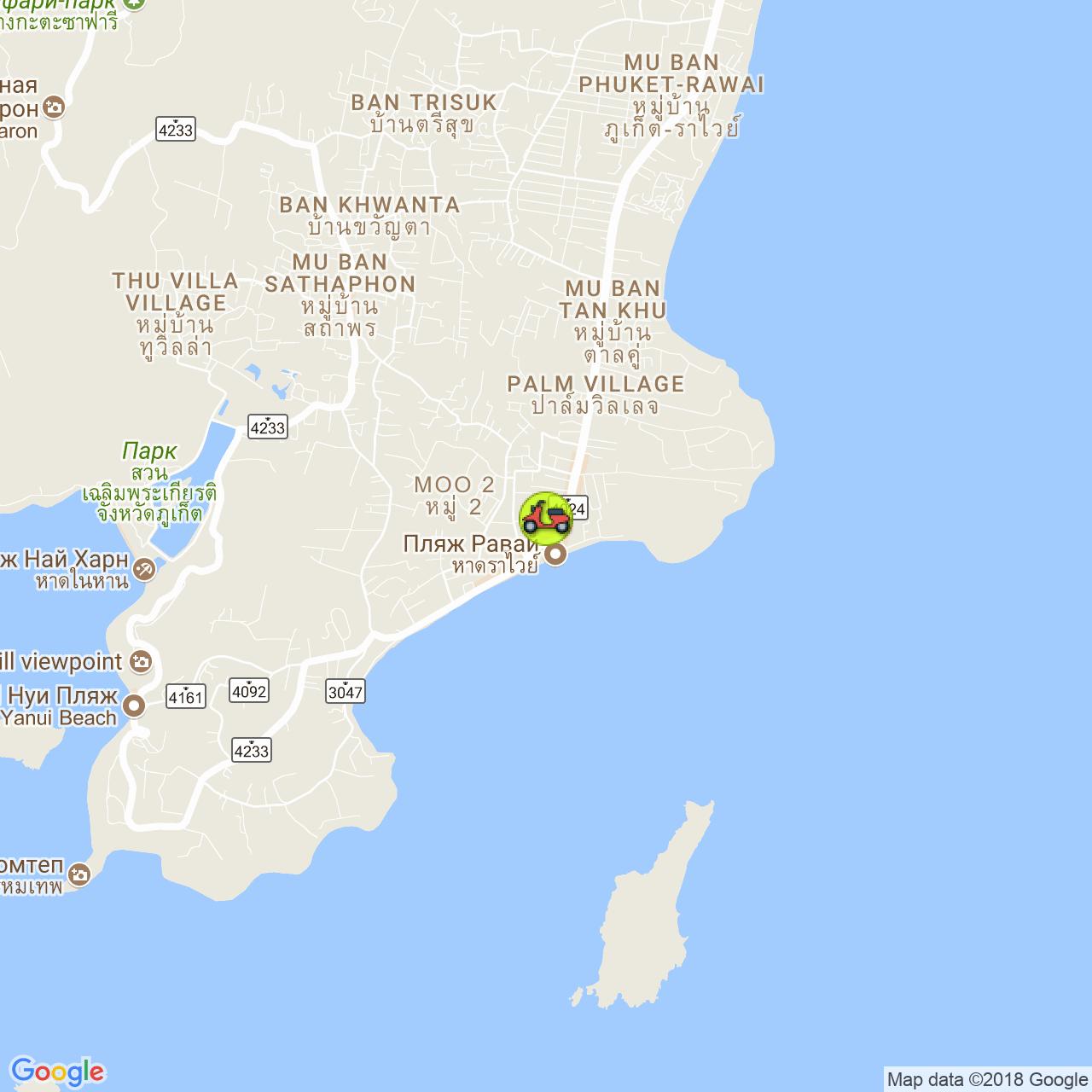 Аренда байков на Раваи на карте Пхукета