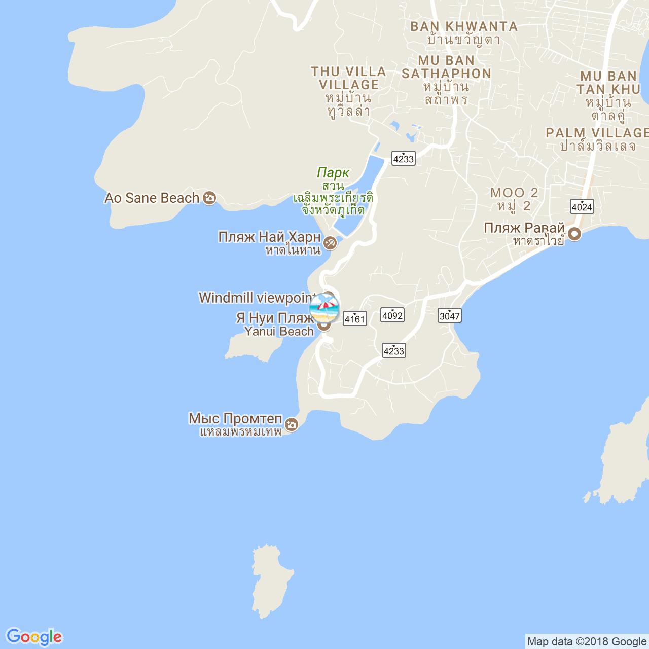 Пляж Януи на карте Пхукета