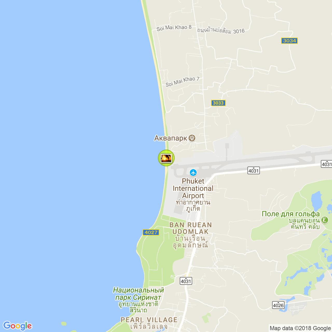 Пляж Май Као на карте Пхукета