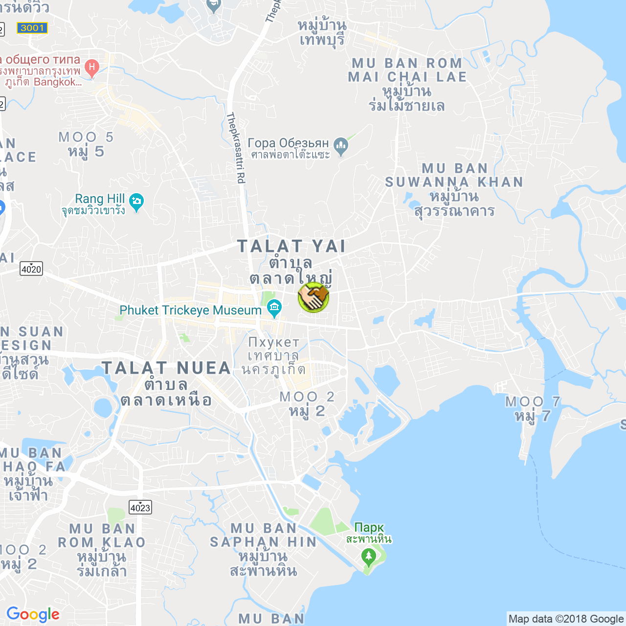 Phuket town Bus Terminal на карте Пхукета