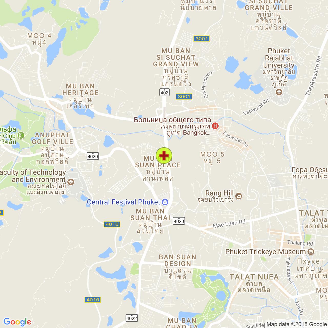Phuket International Hospital на карте Пхукета