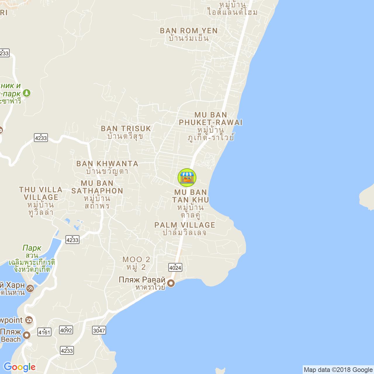 Вечерний рынок в Раваи (пн/чт) на карте Пхукета
