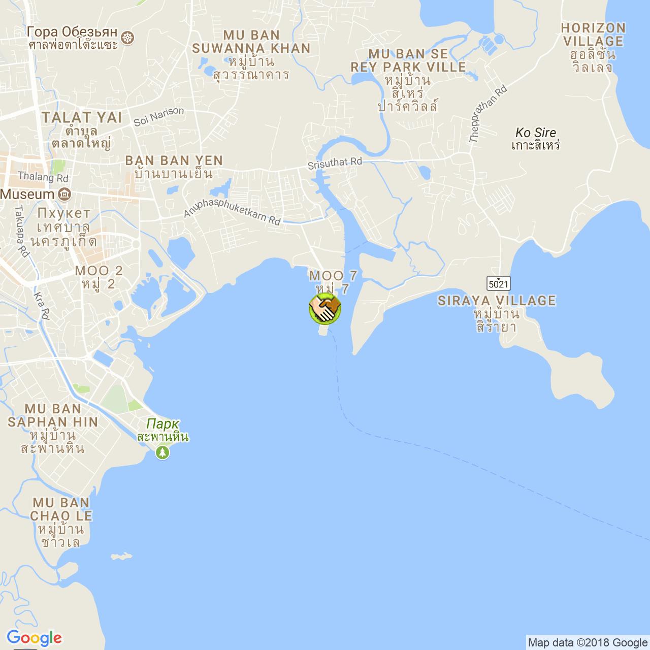 Пирс Рассада на карте Пхукета