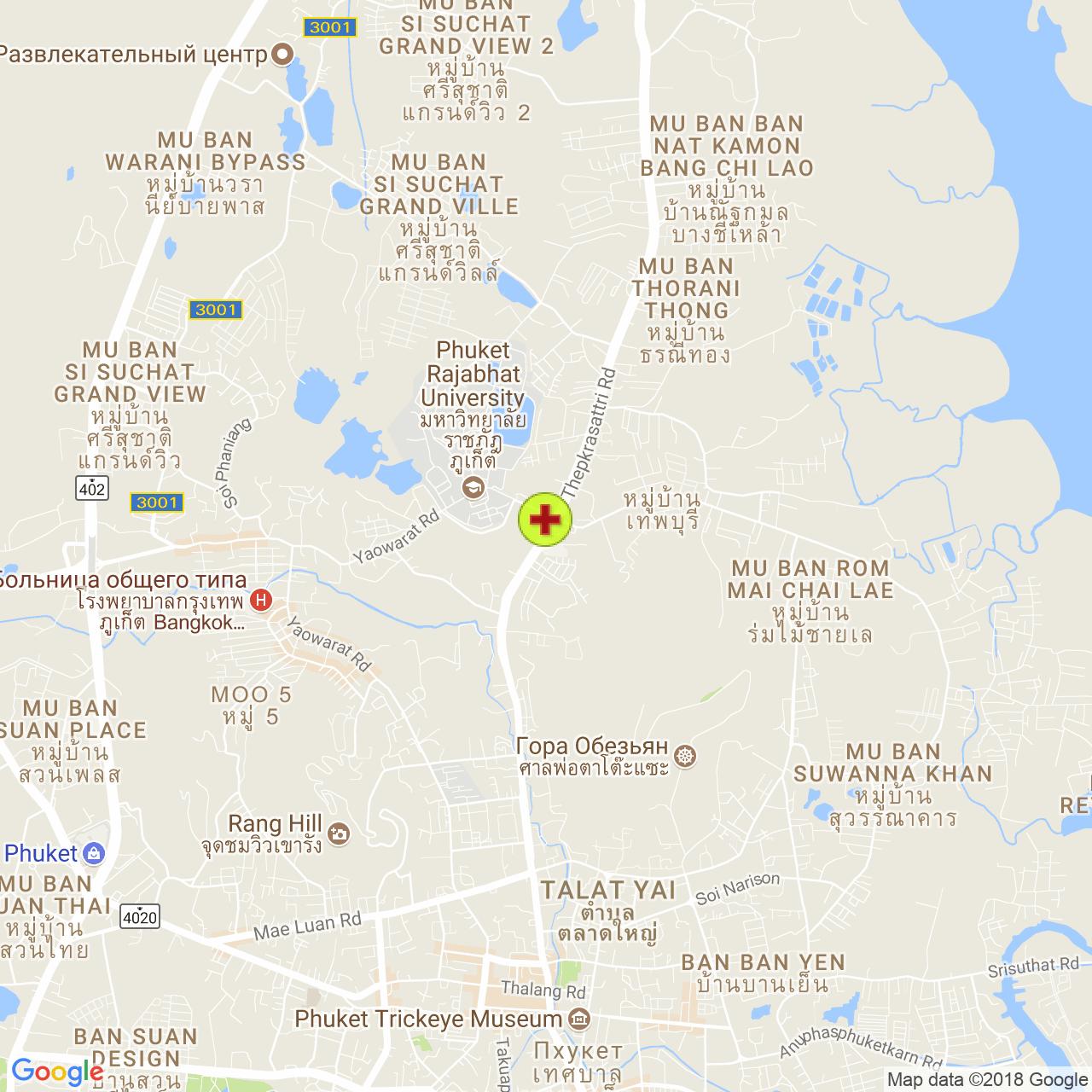 Госпиталь Мишшин (Mission) на карте Пхукета