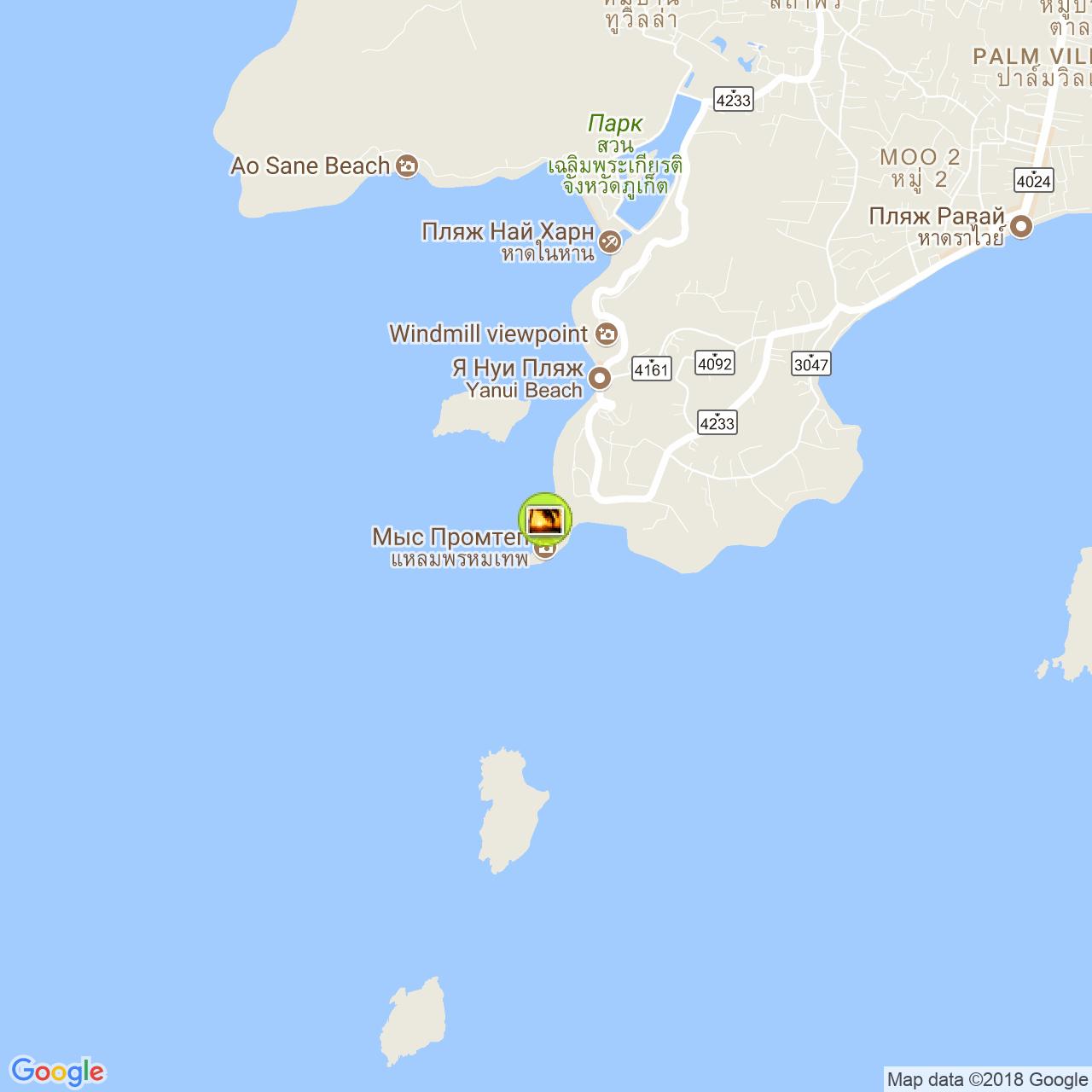 Мыс Промтхеп (Promthep cape) на карте Пхукета