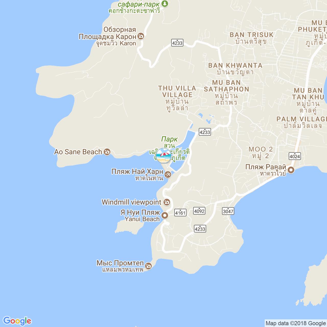 Пляж Най Харн на карте Пхукета