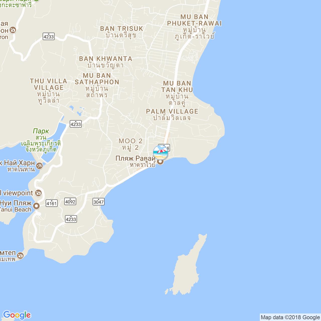 Пляж Раваи на карте Пхукета