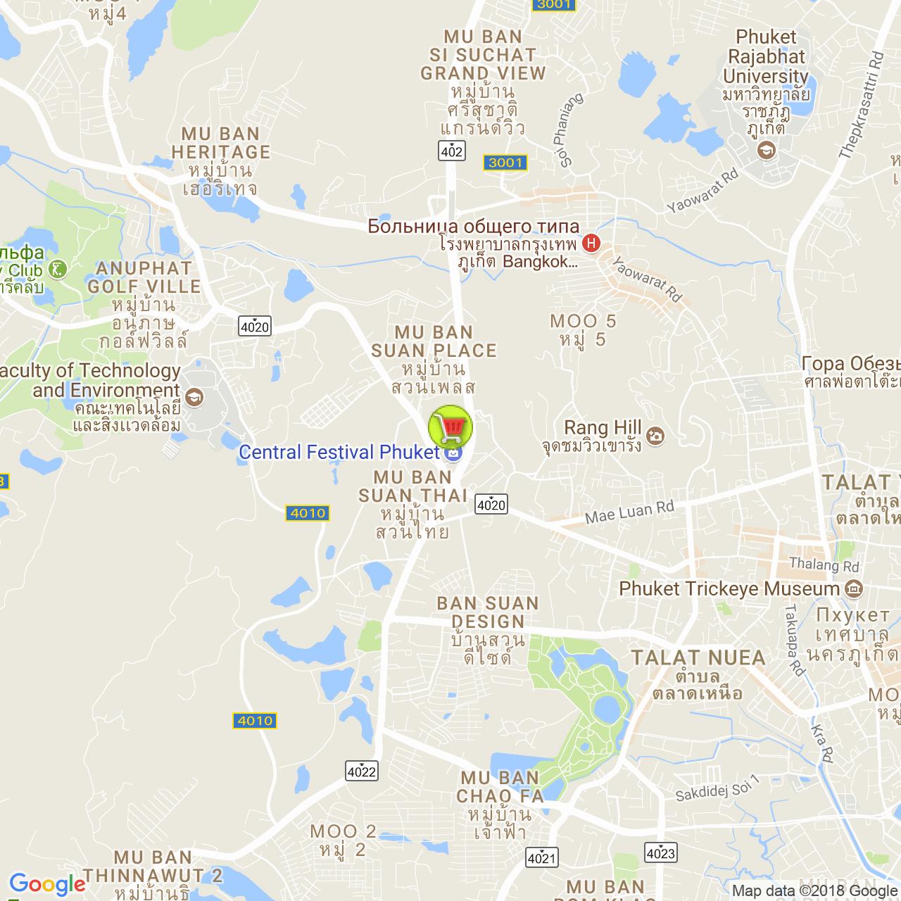 ТЦ Central Festival на карте Пхукета
