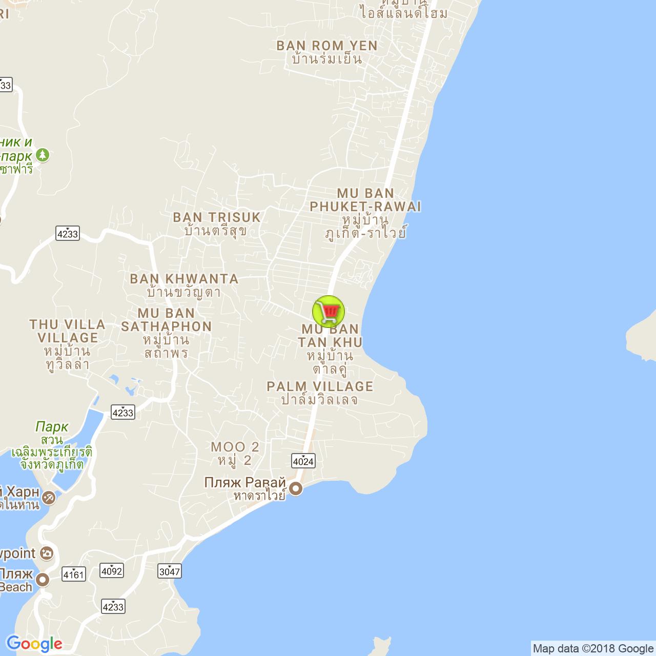 Магазин Суперчип Раваи на карте Пхукета