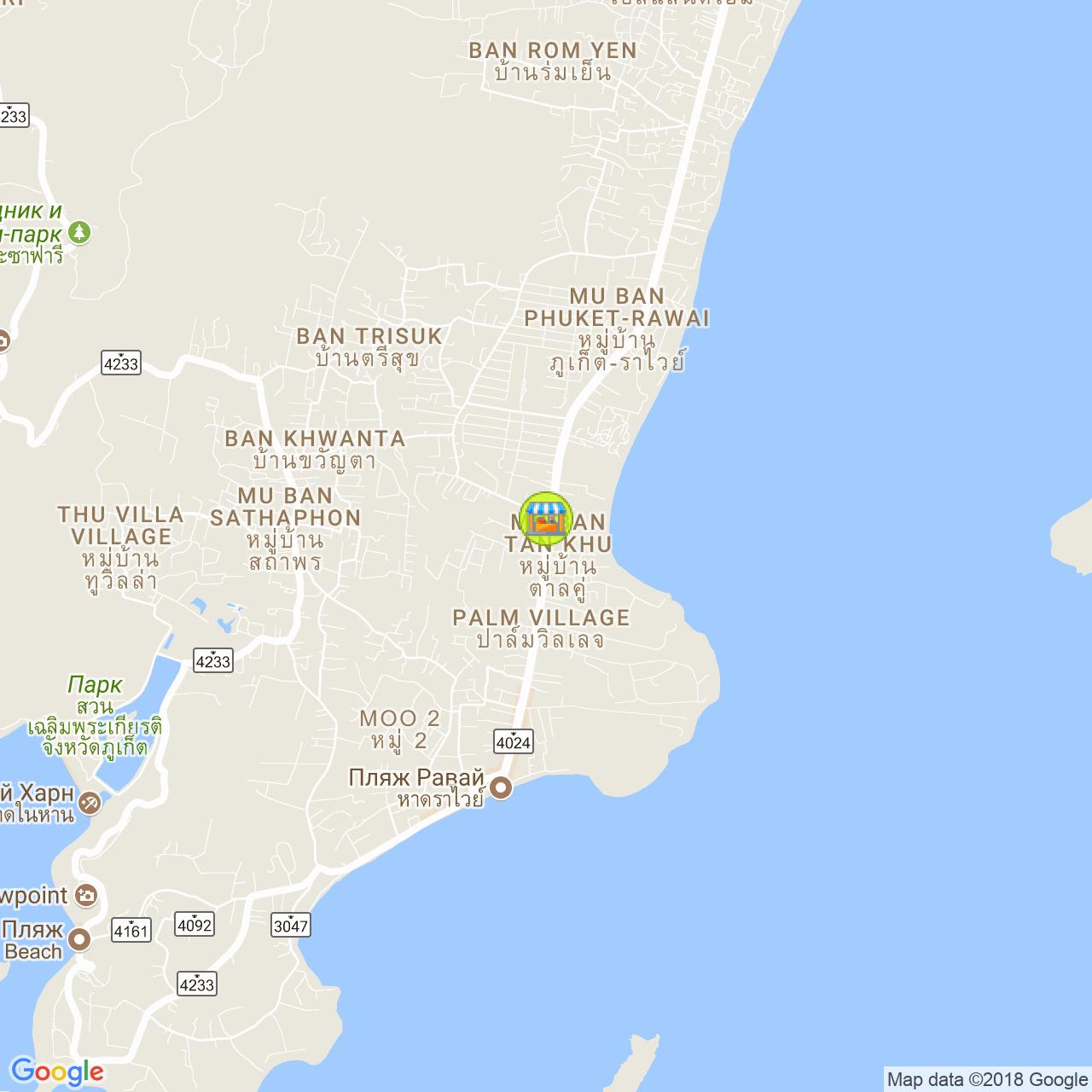 Вечерний рынок в Раваи (ср/вс) на карте Пхукета
