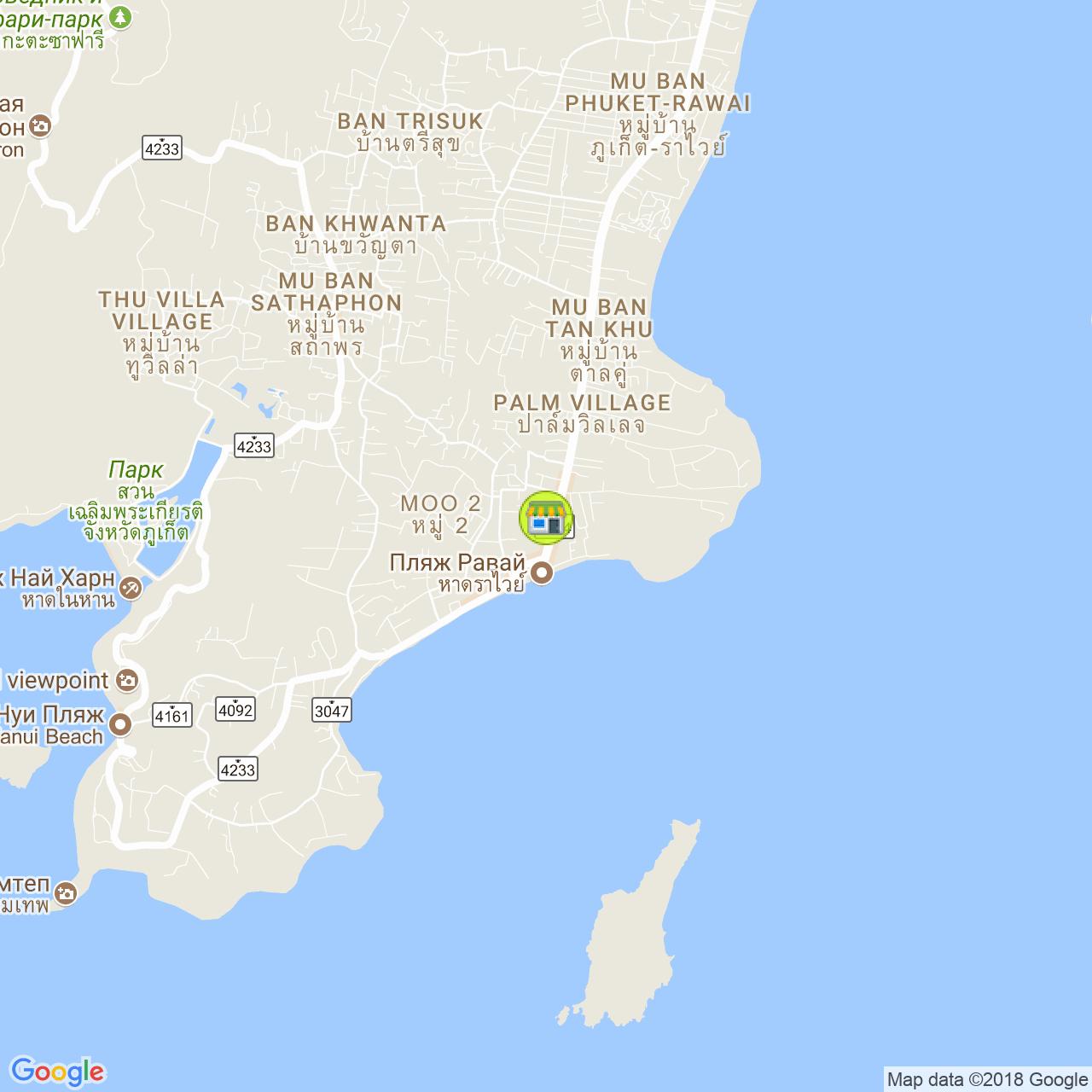 Рыболовный магазин на Раваях на карте Пхукета