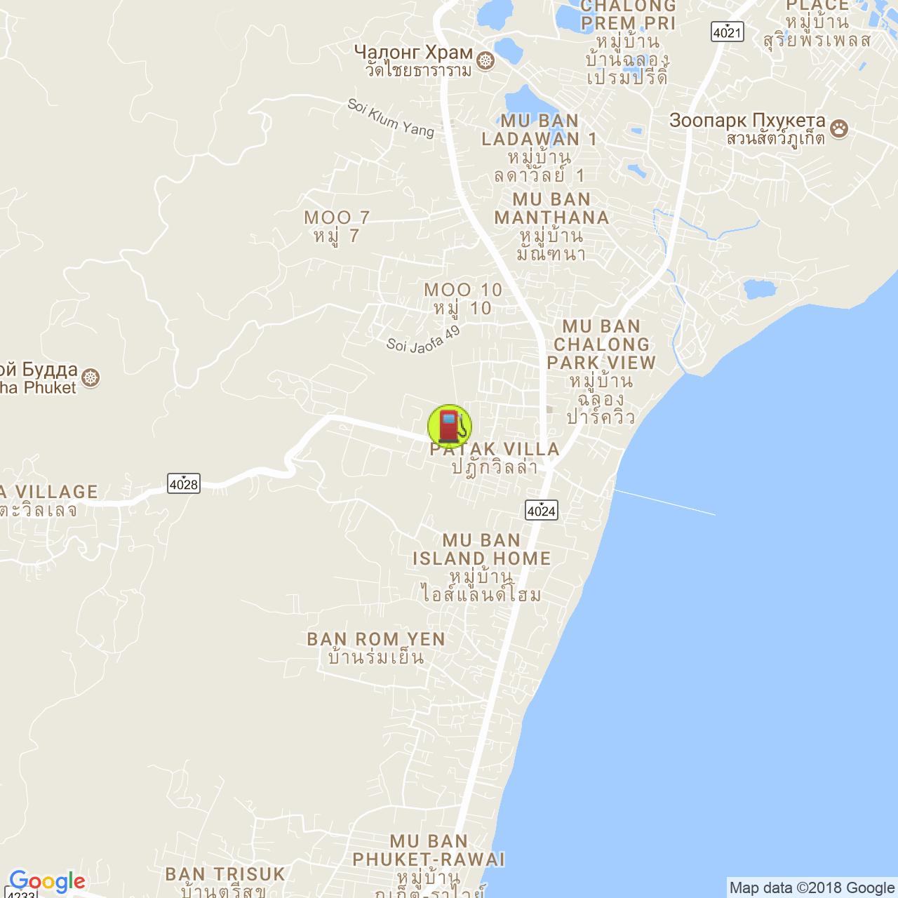 Заправка Shell @ Чалонг / Патак роад на карте Пхукета
