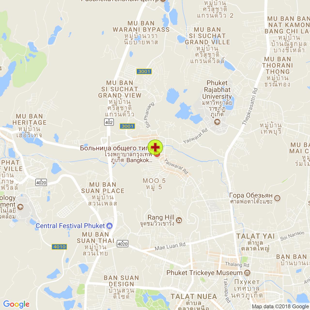 Bangkok Hospital Phuket на карте Пхукета