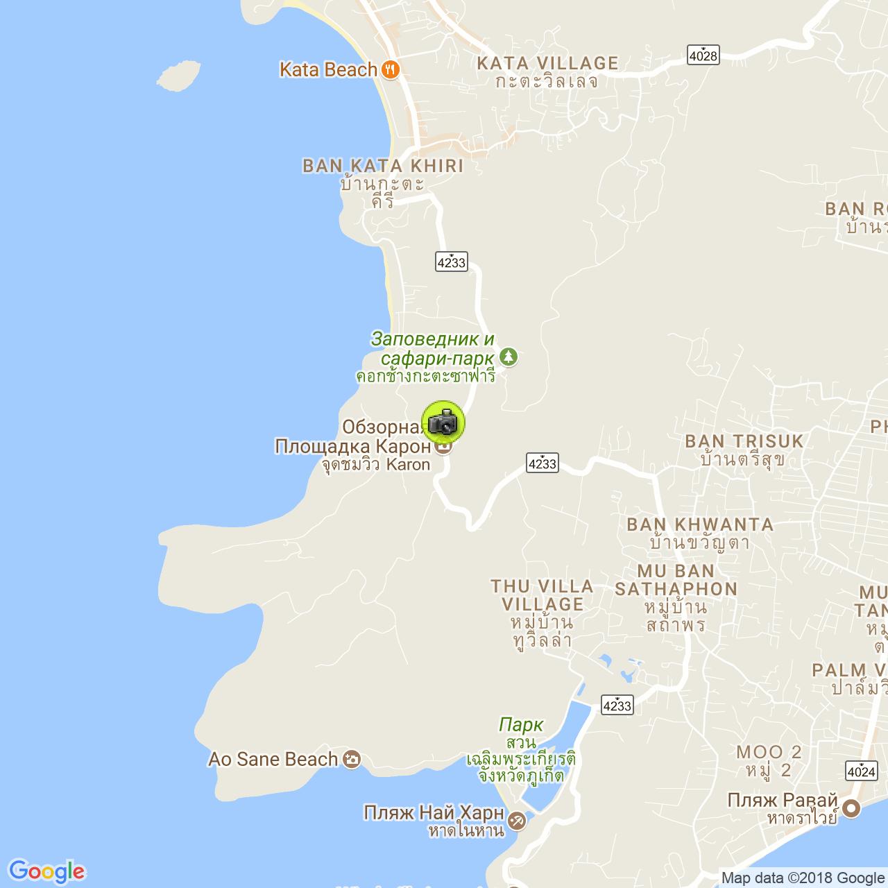 Смотровая площадка Karon View Point на карте Пхукета