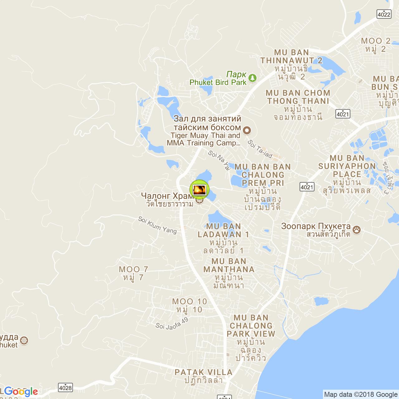Wat (Chalong) Chaithararam на карте Пхукета